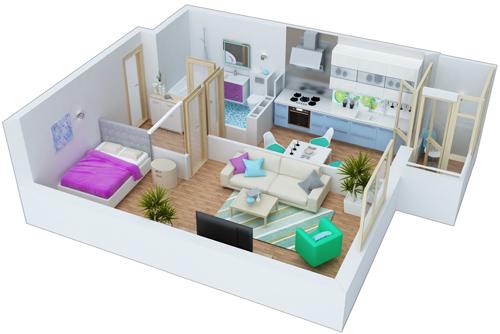 ЖК ЕвроСкай на Крутогорной планировка однокомнатной квартиры