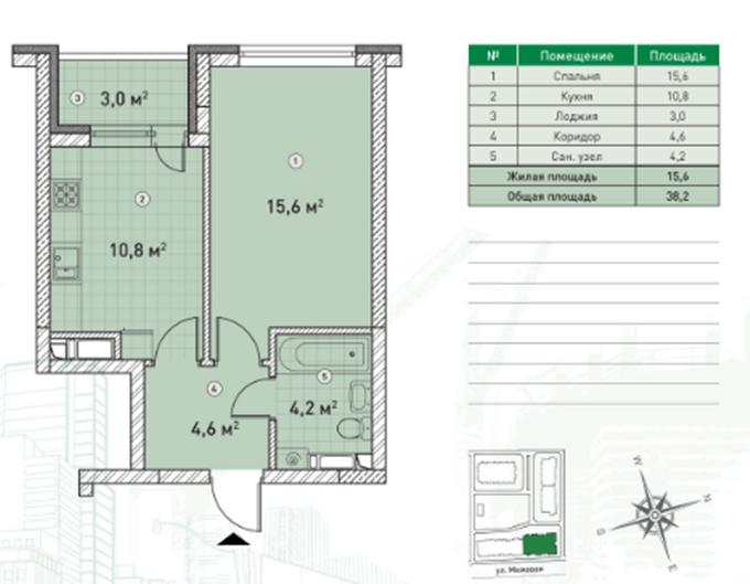 ЖК Пятый квартал (ЖК 5 квартал) планировка однокомнатной квартиры