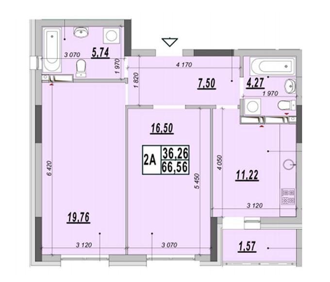 ЖК Родной Город планировка двухкомнатной квартиры