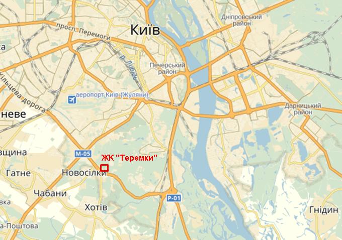 ЖК «Теремки» от Интергал-Буд на карте