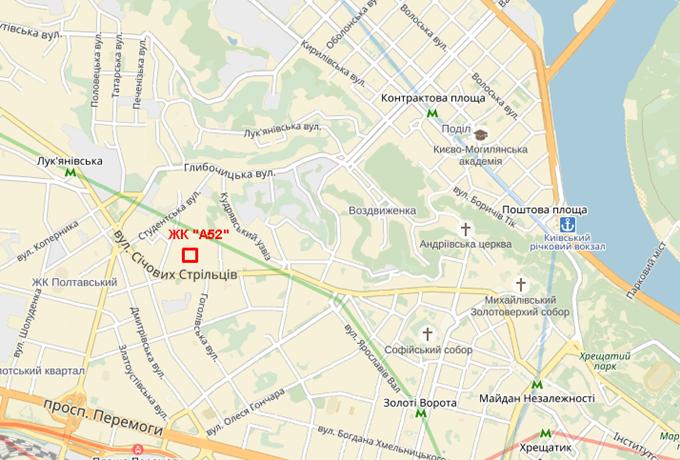 ЖК «А52» на Артема на карте