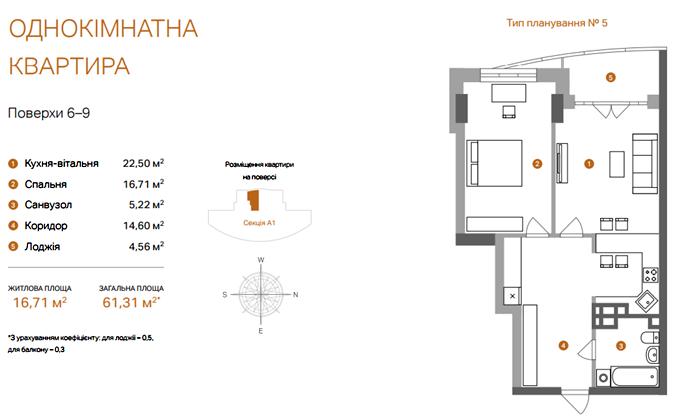 ЖК «А52» на Артема планировка однокомнатной квартиры