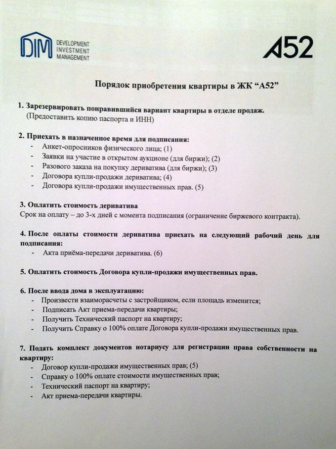 ЖК «А52» на Артема порядок покупки квартиры