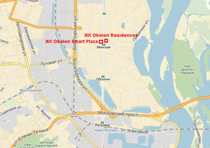 ЖК Смарт Плаза Оболонь на карте