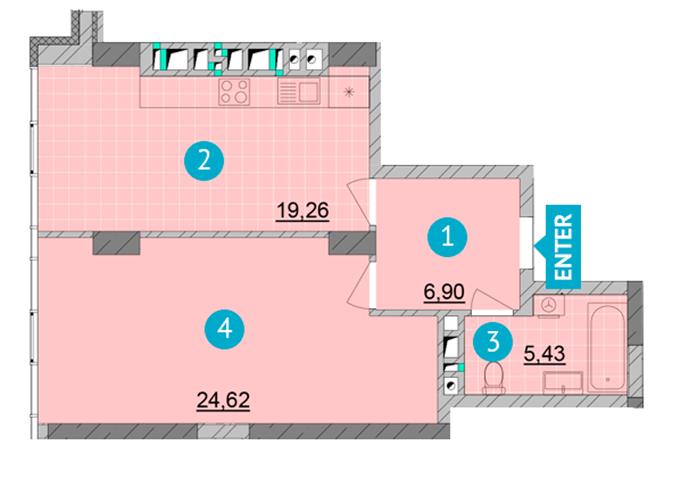 ЖК Смарт Плаза Оболонь планировка однокомнатной квартиры