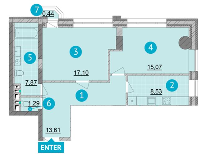 ЖК Смарт Плаза Оболонь планировка двухкомнатной квартиры