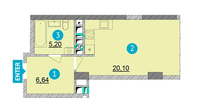 ЖК Смарт Плаза Оболонь планировка квартиры студио
