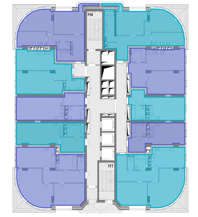 ЖК Смарт Плаза Оболонь поэтажный план 20-25 этажей