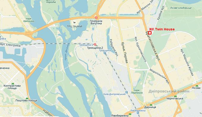 ЖК Twin House от Укрбуд на карте