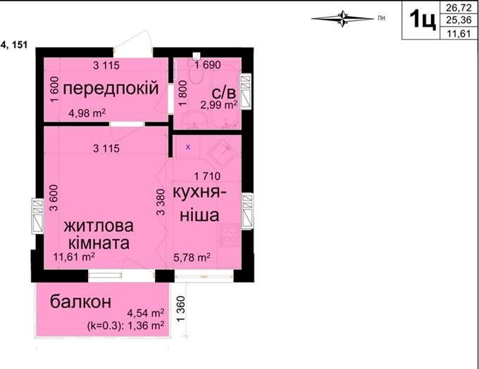 Планировка мини-квартир в ЖК «Кришталеви Джерела»