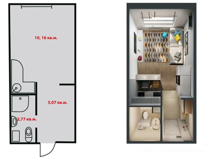 Планировка самой маленькой квартиры в ЖК «Смарт Хаус»