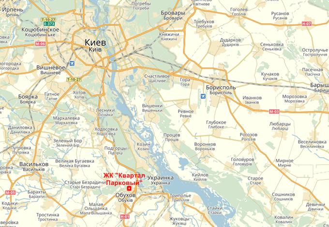 ЖК Квартал Парковый в Обухове на карте