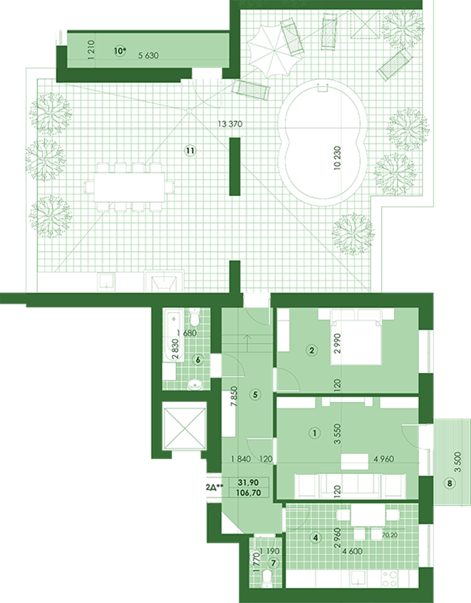 ЖК Квартал Парковый в Обухове планировка двухкомнатной квартиры с террасой