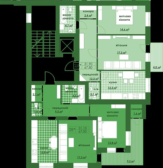 ЖК Квартал Парковый в Обухове поэтажный план третьей секции