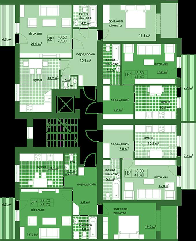 ЖК Квартал Парковый в Обухове поэтажный план второй секции