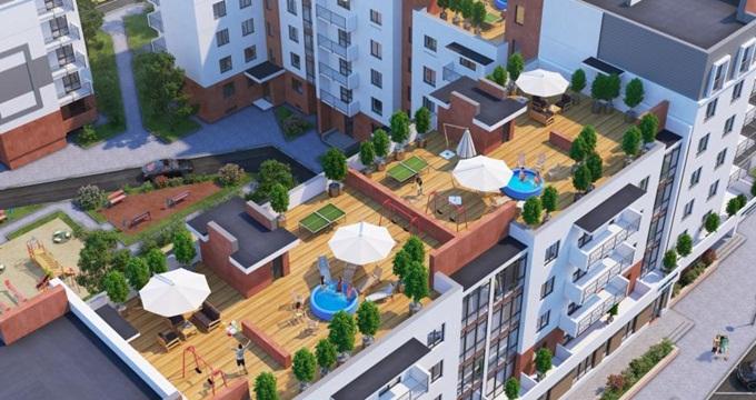 ЖК Квартал Парковый в Обухове терраса на крыше