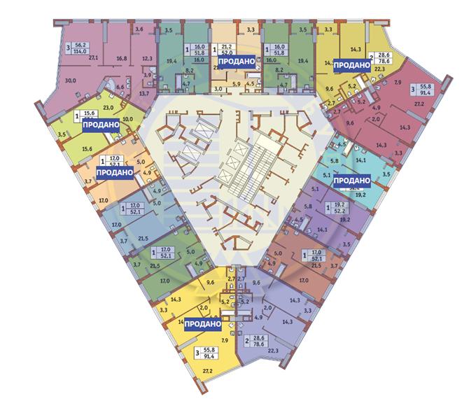 ЖК Manhattan city поэтажный план 12 этажа