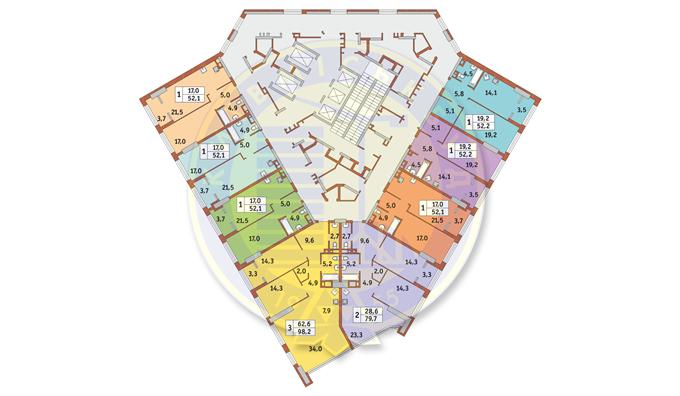 ЖК Manhattan city поэтажный план 6 этажа