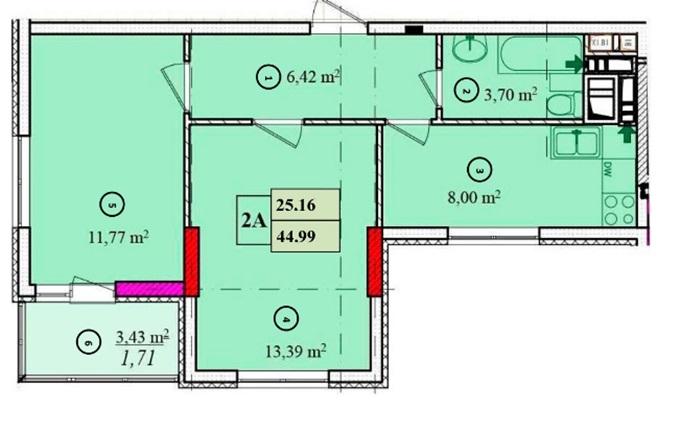 ЖК Solo House двухкомнатная планировка