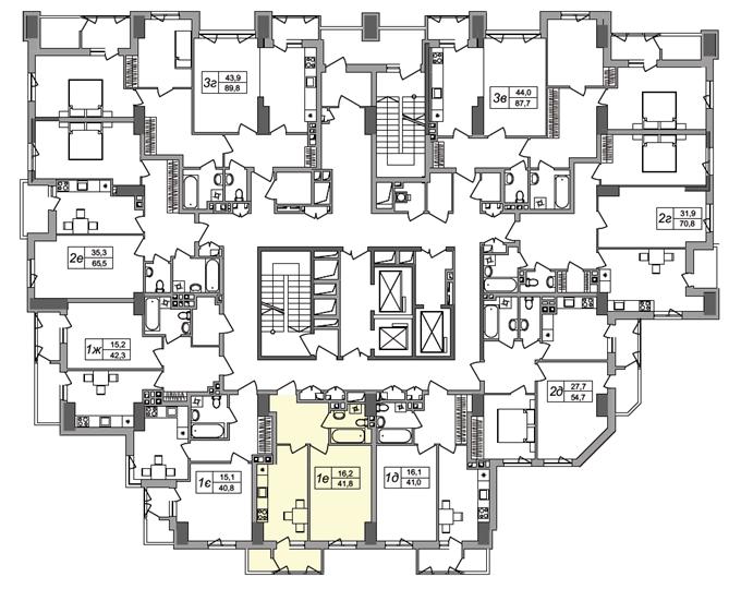 ЖК West House на Кустанайской поэтажный план первого дома