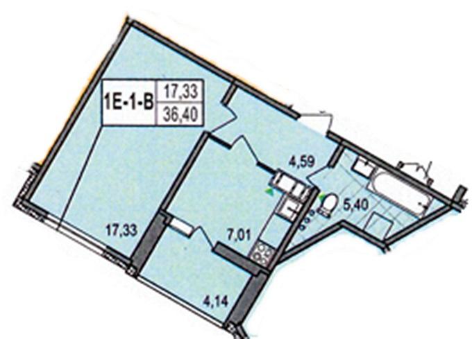 ЖК на Милославской, 18 от Житлоинвестбуда планировка однокомнатной квартиры