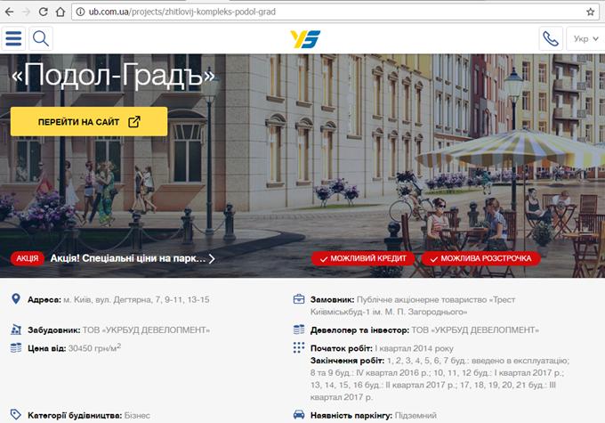 ЖК Подол Град сроки сдачи на сайте Укрбуд