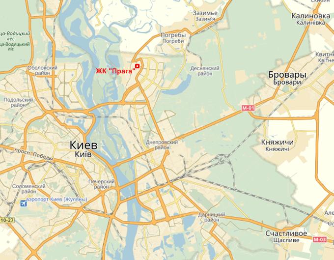 ЖК Прага на Троещине месторасположение