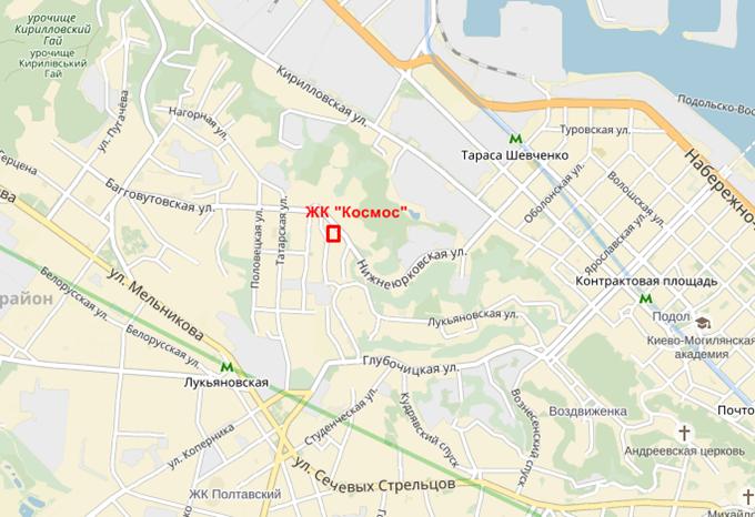 ЖК Космос меторасположение на карте