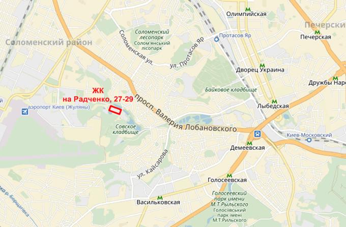 ЖК по улице Петра Радченко меторасположение на карте
