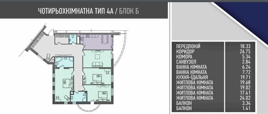 ЖК Alter Ego планировка самой большой четырехкомнатной квартиры