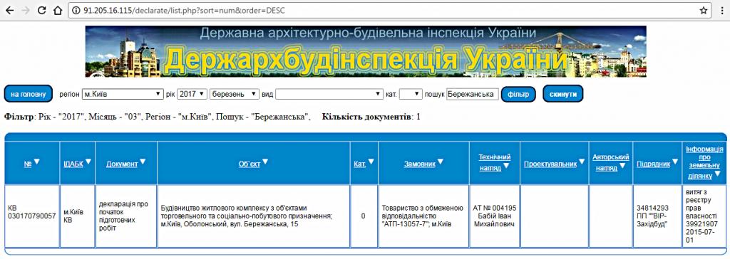 ЖК Бережанский база ГАСК
