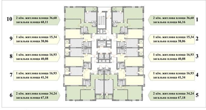 ЖК Бережанский поэтажный план одного из домов