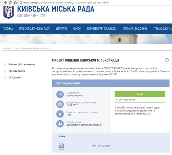 ЖК Бережанский проект разрешение КМДА