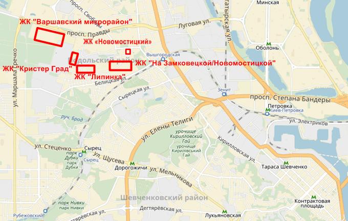 ЖК на Замковецкой-Новомостицкой на карте