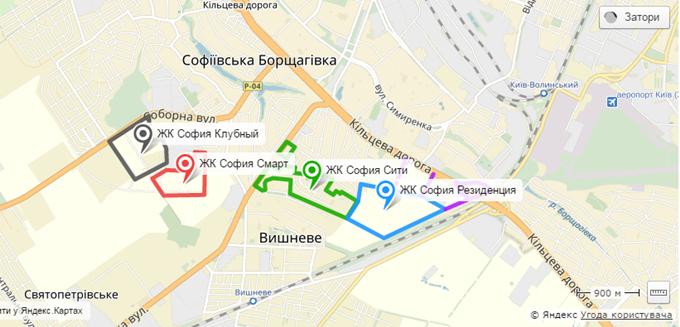 ЖК Sofia Residence Софии от Мартынова на карте