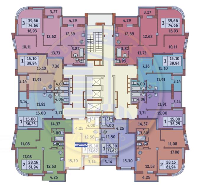 Жилмассив на Каховской 60 типовый этаж домов 1-4