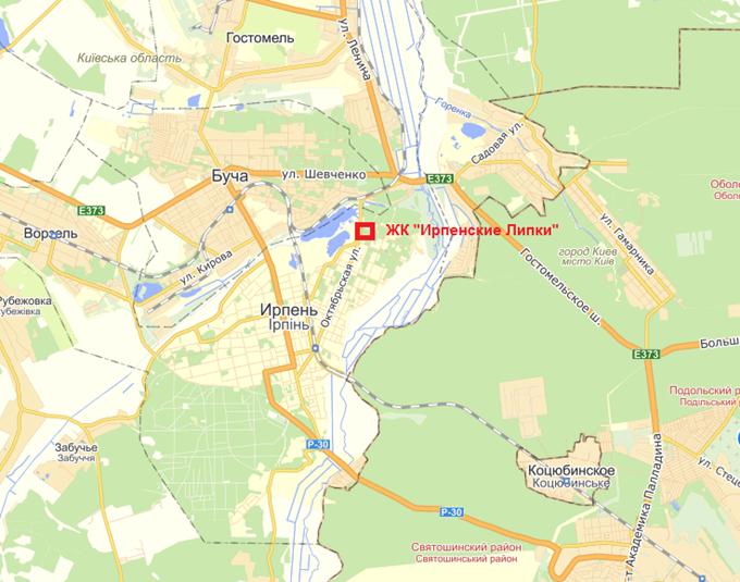 ЖК Ирпенские Липки-2 на карте