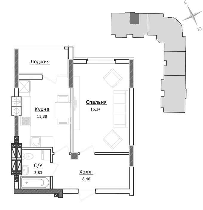 ЖК Ирпенские Липки-2 вариант планировки однокомнатной квартиры