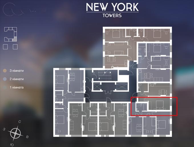 ЖК New York Towers Ирпень поэтажный план 3 секции 14 этажного дома