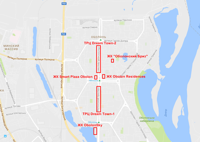 ЖК возле ТРЦ Dream Town на карте