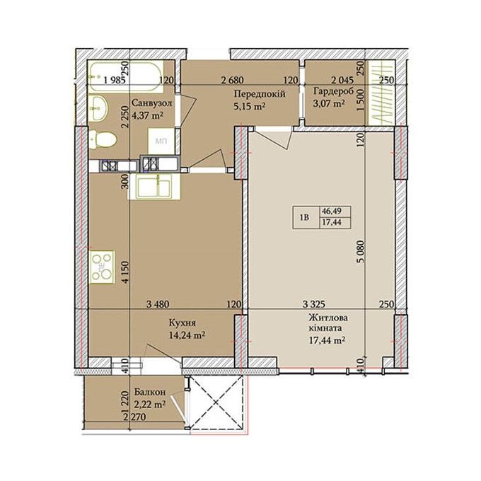 ЖК Баггоутовский вариант планировки однокомнатной квартиры