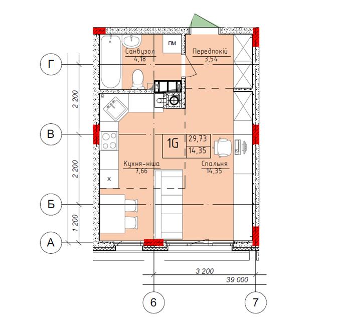 ЖК «Оранж Парк» планировка квартиры студио