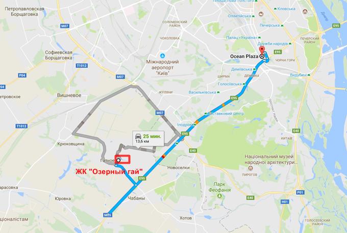 ЖК Озерный Гай Гатное на карте