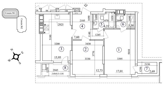 ЖК Толбухина от СГ Фундамент вариант планировки двухкомнатной квартиры