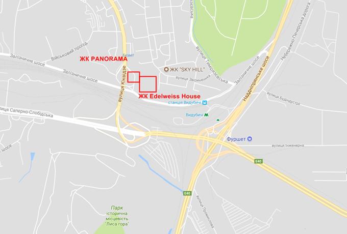 Месторасположение жилого комплекса Эдельвейс Хаус на карте