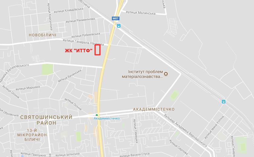 Месторасположение ЖК «ИТТФ» на карте