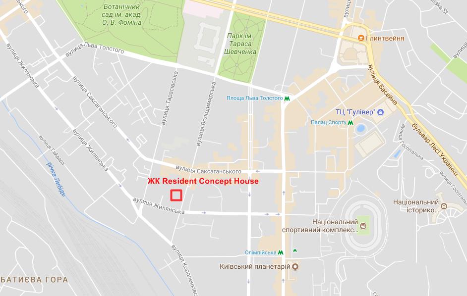 Месторасположение ЖК Resident Concept House на карте