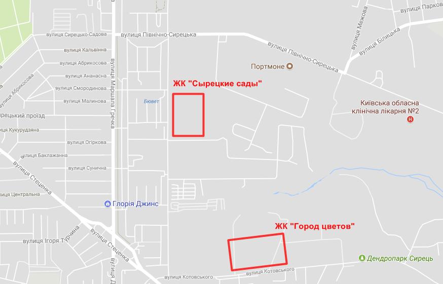 Месторасположение ЖК «Сырецкие Сады» на карте