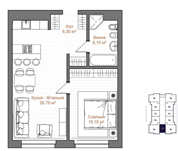 Планировка 1-комнатной квартиры ЖК Эдельвейс Хаус