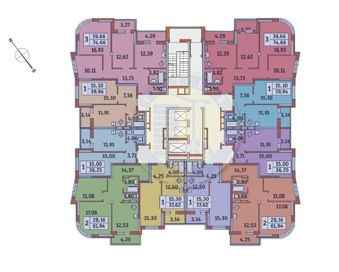 Поэтажный план домов №1 и №3 ЖК «Медовый»